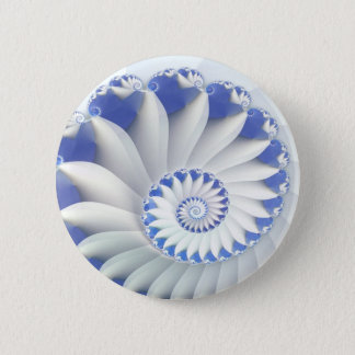 Beautiful Blue & White Sea Shell Fine Fractal Art Button
