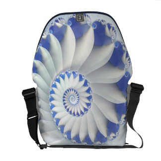 Beautiful Blue & White Sea Shell Fine Fractal Art Courier Bag