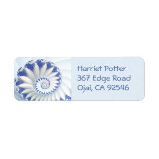 Beautiful Blue & White Sea Shell Fine Fractal Art Label