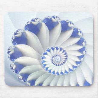 Beautiful Blue & White Sea Shell Fine Fractal Art Mouse Pad