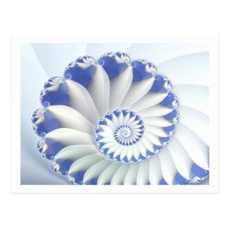 Beautiful Blue & White Sea Shell Fine Fractal Art Postcard