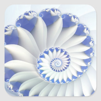Beautiful Blue & White Sea Shell Fine Fractal Art Square Sticker