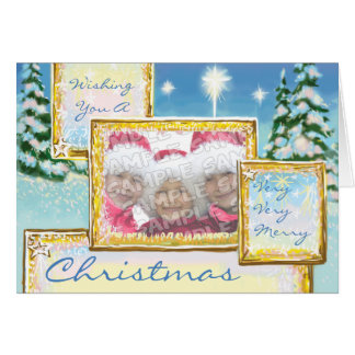 Beautiful Blue Winter Snow Scene Photo Frame Card