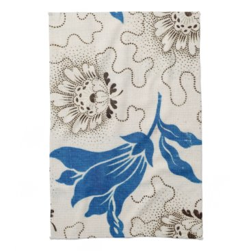 Beach Themed Beautiful Blue with Stippled Floral Print   Towels