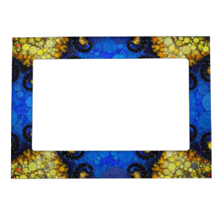 Beautiful Blue Yellow Abstract Magnetic Frame