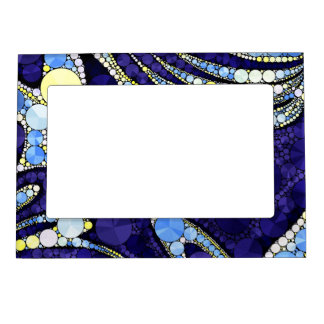 Beautiful Blue Yellow Bling Abstract Magnetic Picture Frame