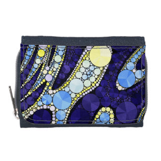 Beautiful Blue Yellow Bling Abstract Wallets