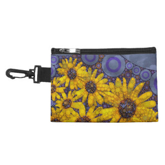 Beautiful Blue Yellow Sunflowers Abstract Accessory Bag