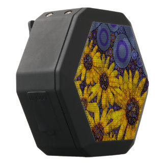 Beautiful Blue Yellow Sunflowers Abstract Black Bluetooth Speaker