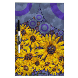 Beautiful Blue Yellow Sunflowers Abstract Dry Erase Board