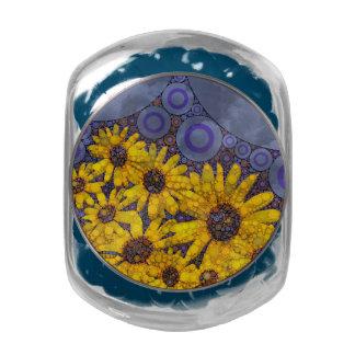 Beautiful Blue Yellow Sunflowers Abstract Glass Jar