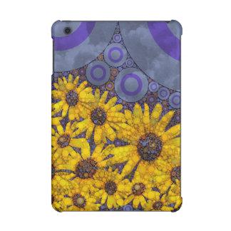 Beautiful Blue Yellow Sunflowers Abstract iPad Mini Cover
