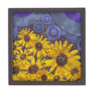 Beautiful Blue Yellow Sunflowers Abstract Keepsake Box
