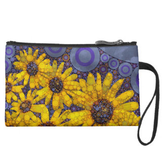 Beautiful Blue Yellow Sunflowers Abstract Suede Wristlet Wallet