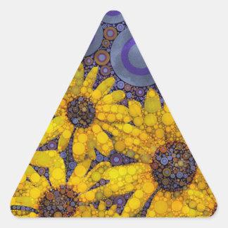 Beautiful Blue Yellow Sunflowers Abstract Triangle Sticker