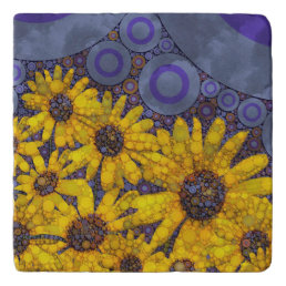 Beautiful Blue Yellow Sunflowers Abstract Trivet