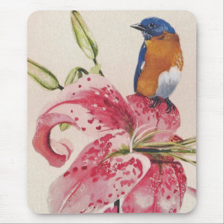 beautiful bluebird on a stargazer lily. mouse pad