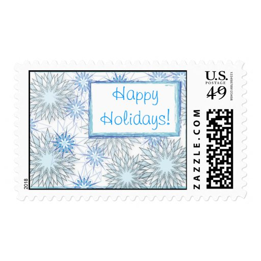 Beautiful Blues Holiday Stamps--Abstract Snowflake Stamp