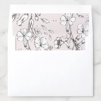 Beautiful Blush Floral Monogram Sketched Wedding Envelope Liner