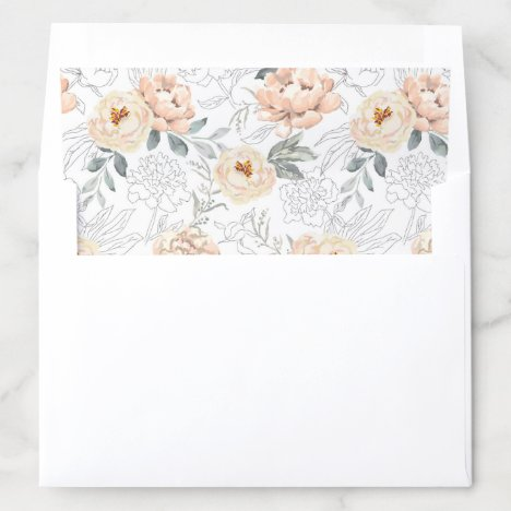 Beautiful Blush Peony Flowers with Grey Leaves Envelope Liner