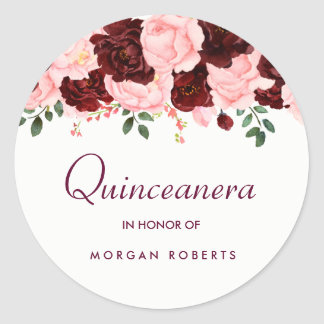 Beautiful Blush Pink Burgundy Floral Quinceanera Classic Round Sticker