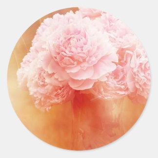 Beautiful Blushing Peony Bouquet Classic Round Sticker