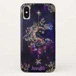 "Beautiful Boho Moon Stars Blue Purple Custom Text iPhone XS Case<br><div class=""desc"">Beautiful Boho Moon Stars Blue Purple Custom Text iPhone XS Case</div>"