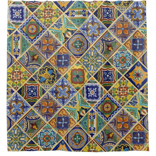 Beautiful Boho Talavera Tile Shower Curtain