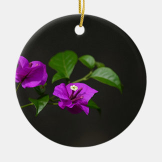 Beautiful bougainvillea flower Double-Sided ceramic round christmas ornament