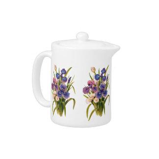 Beautiful Bouquet of Japanese Irises Pink Purple Teapot