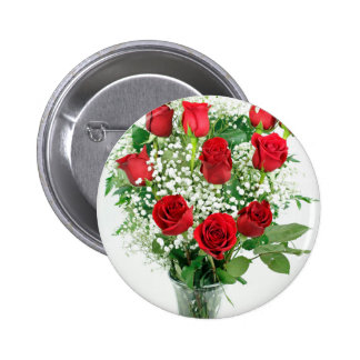 Beautiful Bouquet of Red Roses Button