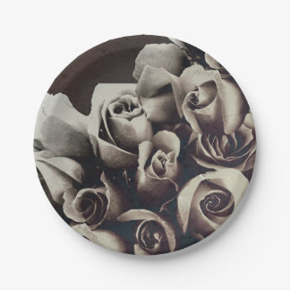 Beautiful Bouquet Roses Grunge Paper Plate