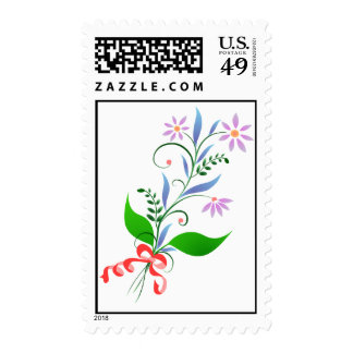 Beautiful Bouquet Tied with Red Bow Postage Stamps