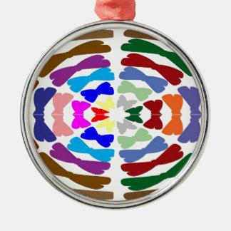 Beautiful Bow Tie Dance -  Enjoy n Share Joy Round Metal Christmas Ornament