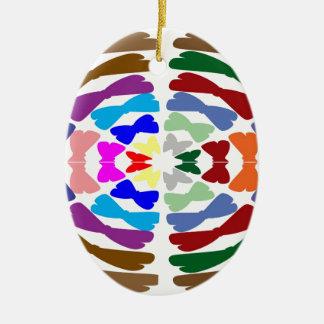 Beautiful Bow Tie Dance -  Enjoy n Share Joy Double-Sided Oval Ceramic Christmas Ornament