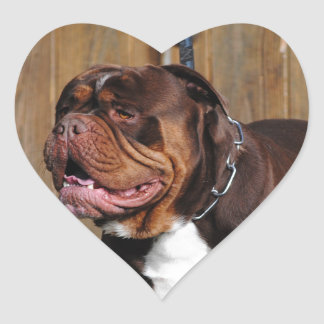 beautiful breed dog renascence bulldog heart sticker