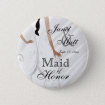 Beautiful Bridal Gown on White Satin Button