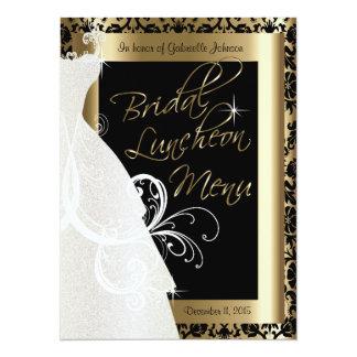 Beautiful Bridal Menu in Gold & Black Damask Card