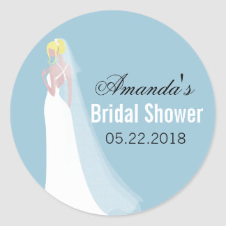 Beautiful Bride Blonde Personalized Bridal Shower Classic Round Sticker