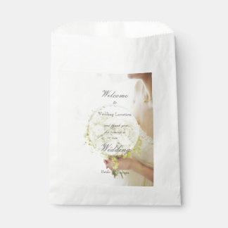 Beautiful bride flower bouquet wedding editable favor bag
