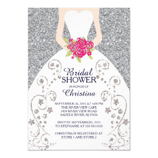 Beautiful Bride Glitter Bridal Shower Invitation