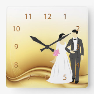 Beautiful Bride & Groom Wedding Square Wallclock