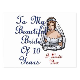 Beautiful Bride Of 10 Years Postcard