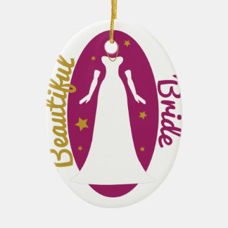 Beautiful Bride Double-Sided Oval Ceramic Christmas Ornament