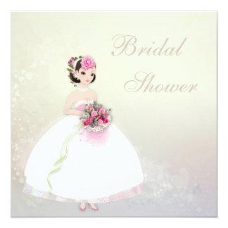Beautiful Bride Romantic Hearts Bridal Shower 5.25x5.25 Square Paper Invitation Card