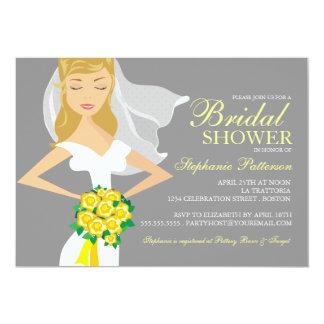 Beautiful Bride w Bouquet Bridal Shower Invitation