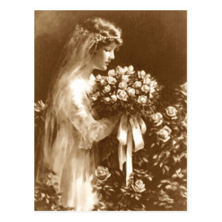 Beautiful bride with a rose bouquet postcard