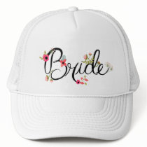 Beautiful Bride Word with Flowers Trucker Hat