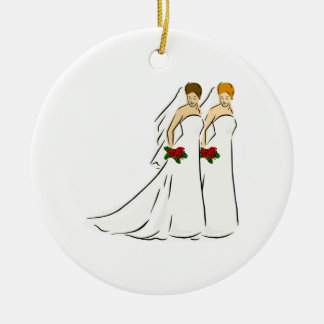 Beautiful Brides Double-Sided Ceramic Round Christmas Ornament