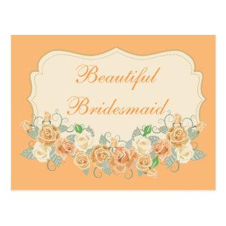 Beautiful Bridesmaid Peach Floral Postcard